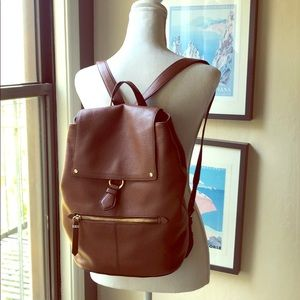Cole Haan brown leather large backpack